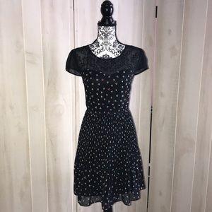 Lauren Conrad LC Sheer Black Tiny Hearts Dress 8